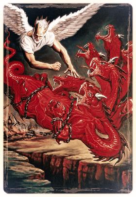 Watchtower drawing Christ chaining Satan
