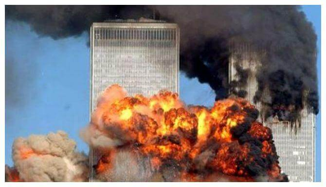 9-11 Twin Towers in flames