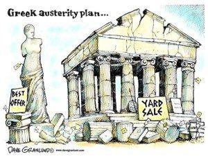 cartoon - selling off the Greek Parthenon