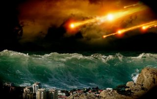 Apocalyptic scene, tidal wave, fireballs from the sky
