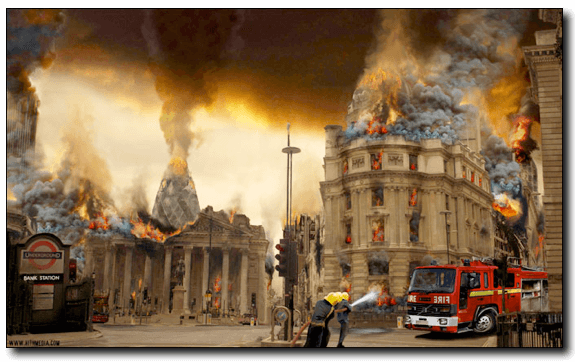 City of London burning