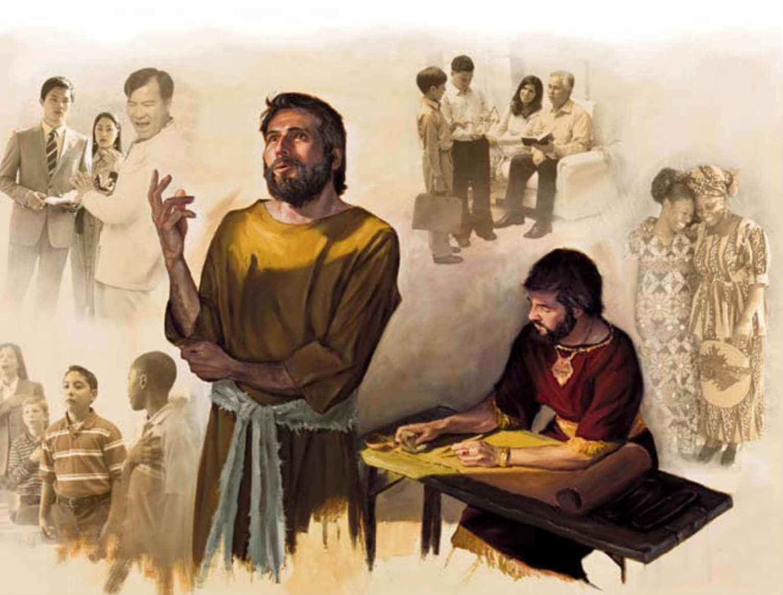 Jeremiah dictating to his secretary - Watchtower image