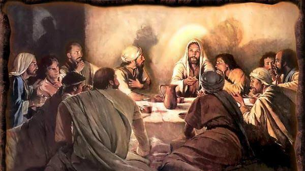 Jesus at the table with his apostles