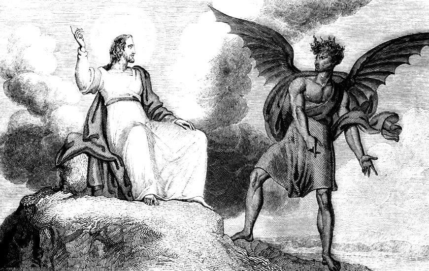 Jesus in the wilderness being tempted by Satan