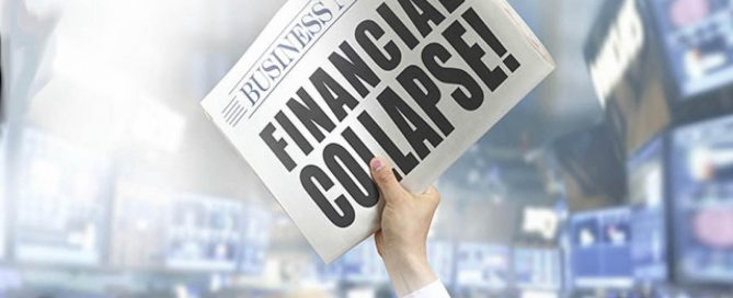 newspaper heralding FINANCIAL COLLAPSE