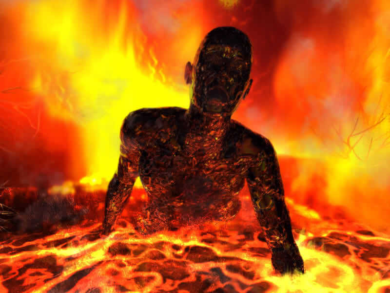 person tormented in the lake of fire