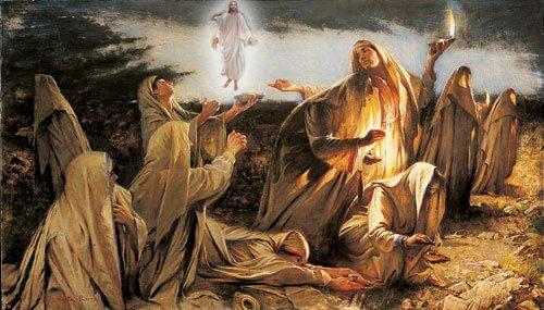 wise and foolish virgins of Jesus parable part ways in the night