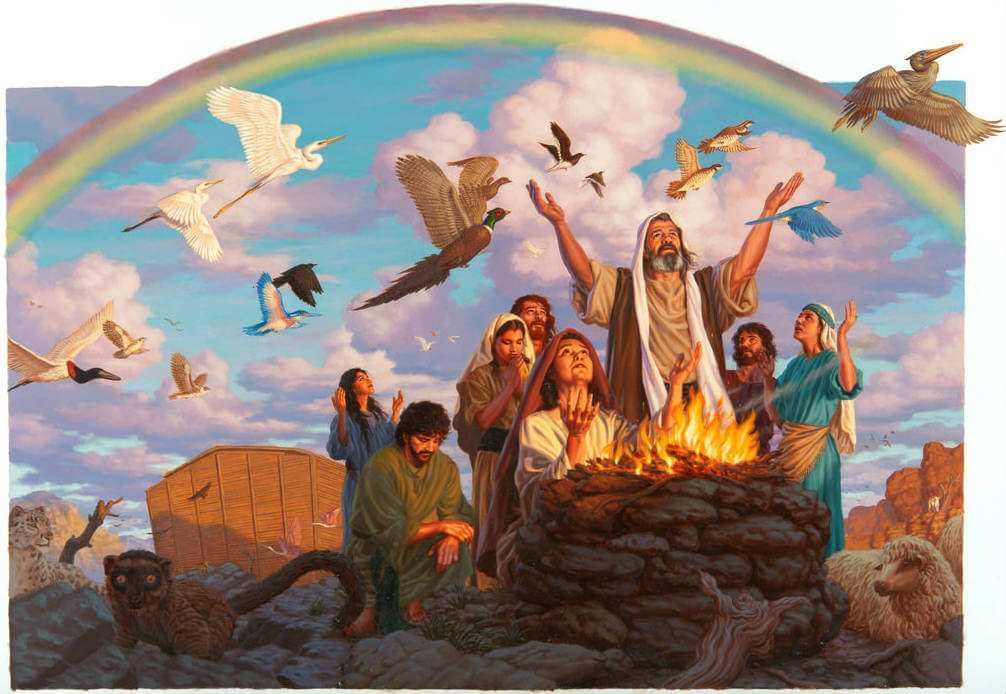 Noah and family worship Jehovah after emerging from the ark
