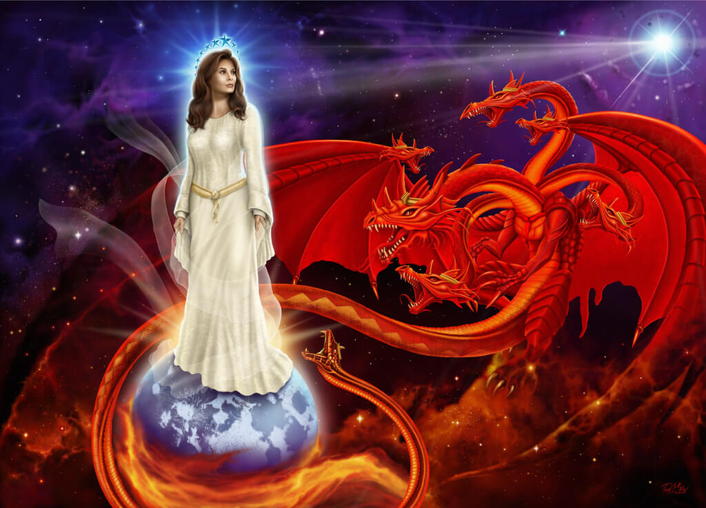 woman of Revelation and the fiery red Dragon