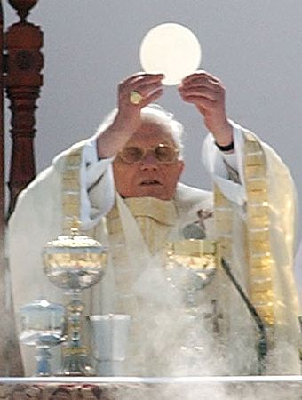 Pope holds up Eucharist