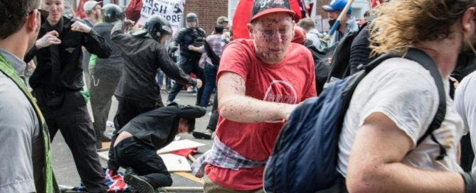 clash of protesters in Charlottesville