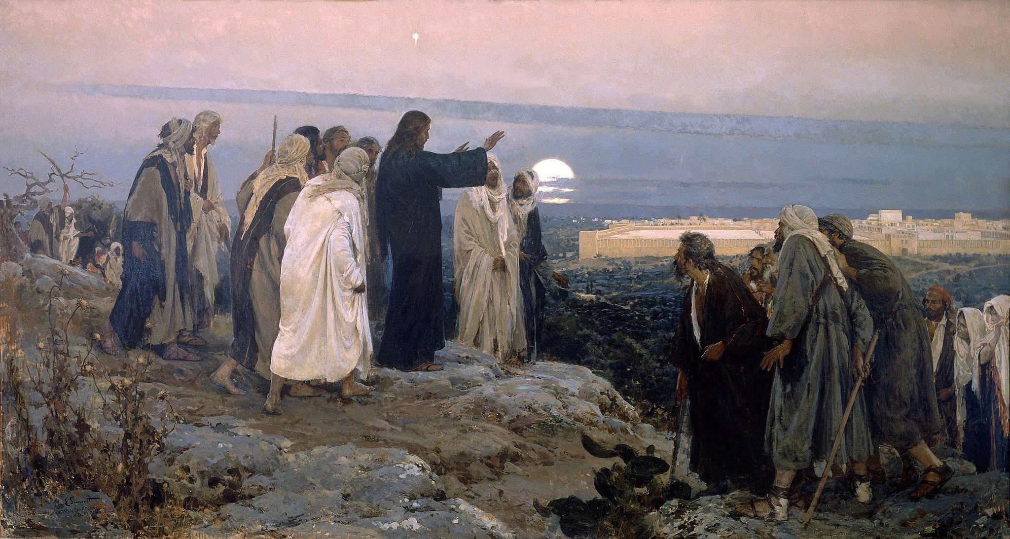 Jesus upon the Mount of Olives overlooking Jerusalem